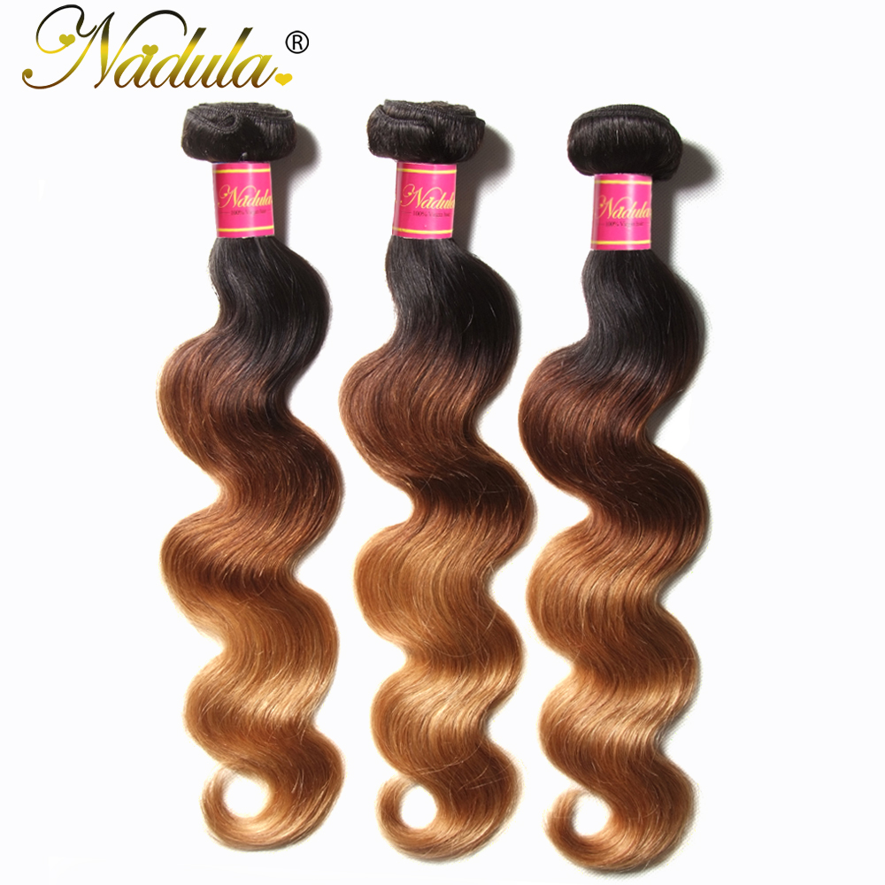 Nadula Hair  Body Wave Ombre Hair Bundles T1B/4/27 3 Tone  Hair s Machine Double Weft 1Bundle Can Be Mixed 4