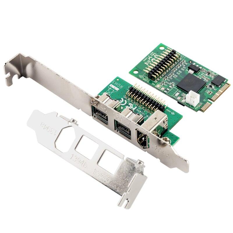 Mini PCIE 2 + 1 ports 1394B 1394A carte de Capture Mini ITX externe Firewire 800 carte de contrôleur Audio vidéo avec support de profil bas