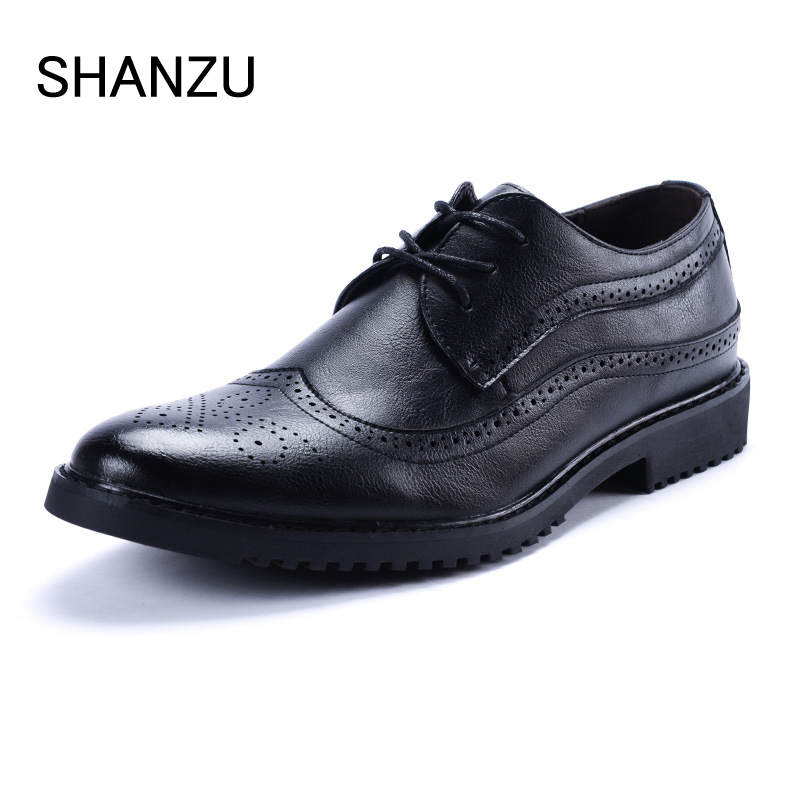 Men Oxfords Shoes British casual Style Dress Leather Shoe Brown Brogue Shoes Lace-Up Bullock Business Zapatos Hombre 324 zdrd new fashion genuine leather men business casual shoes british low top lace up suede leather mens shoes brown red men shoes