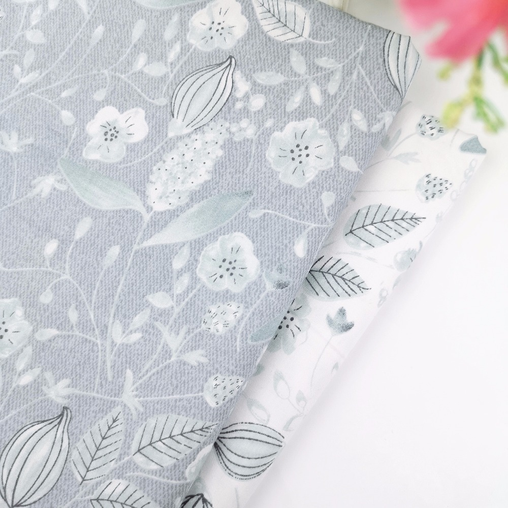 Grey Leaves 100% Cotton Fabric By Meter For Quilting Telas To Diy Pacthwork Crib Sewing Cloth Dress Pillows Cover Tilda Tissue