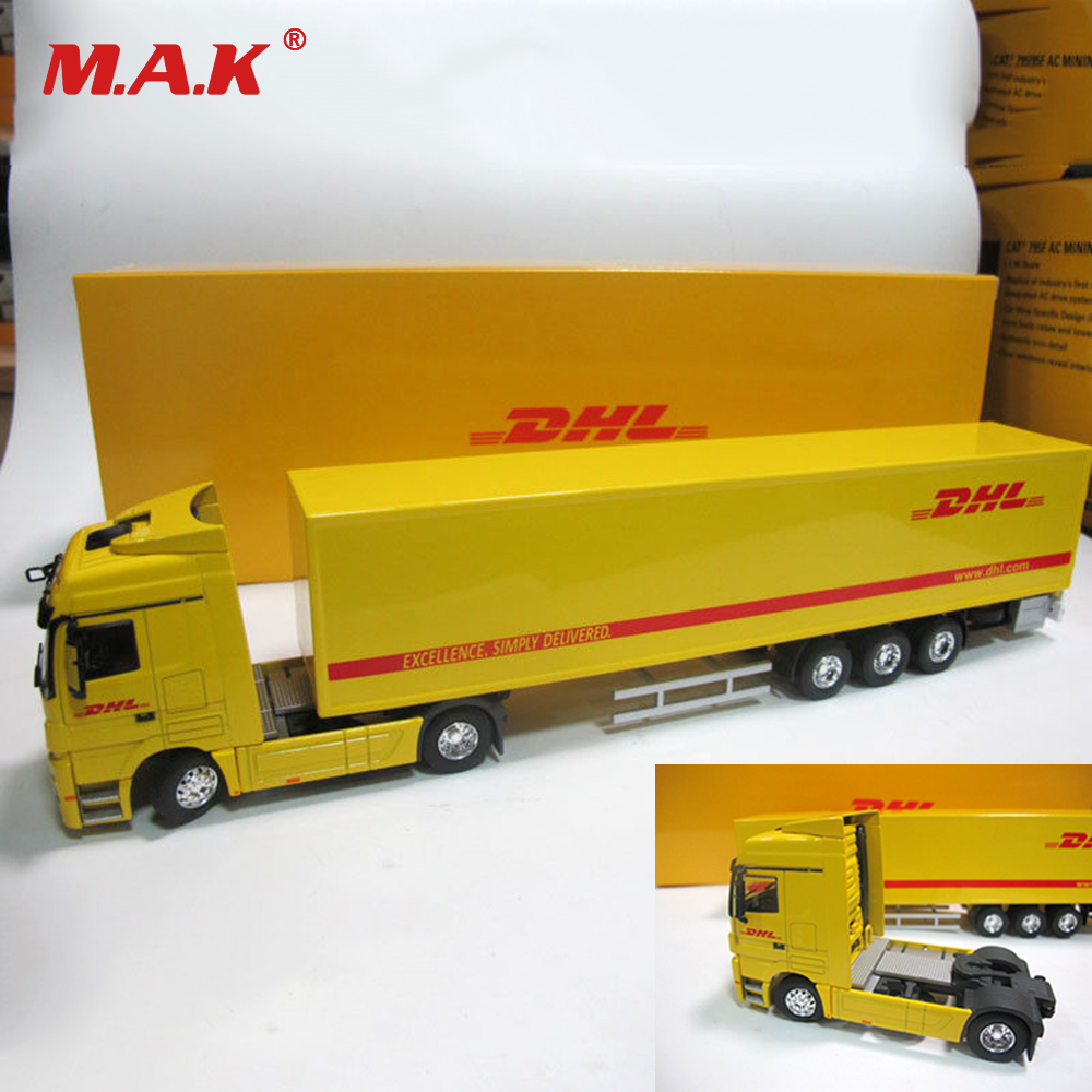 1/50 Scale Big Car Alloy Diecast Cargo Truck Container Transport Truck Bus Models DHL Type Yellow Model Children Toys Gifts gifts 1 32 ros fiatagri g240 tractor models alloy car models favorites model