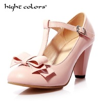 Big Size Bow Woman Pumps Sweet Lolita T Strap Square Block Heels Buckle Pink Casual Office Lady Shoes Round Toe High Heel Shoes