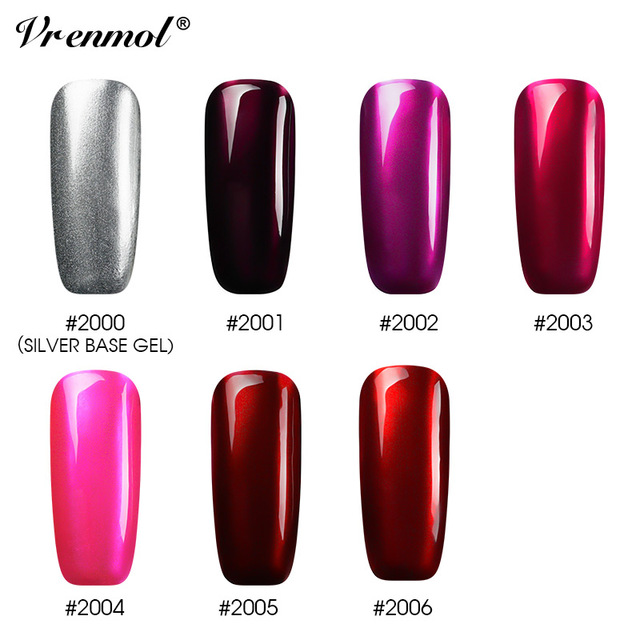 Vrenmol Mirror Anium Red Gel Uv Led Wine Deep Rose Mirrored Metallic Silver Varnish Nail