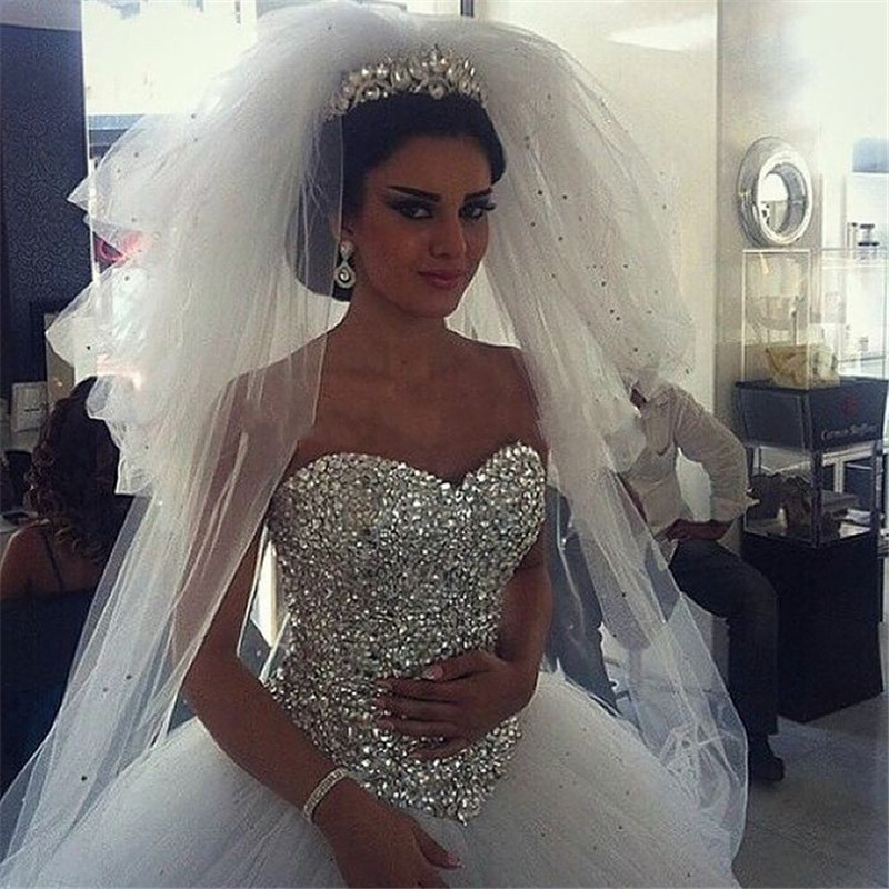 Vestidos de Noiva 2016 Custom made Ball Gown White Tulle Crystals Princess Wedding Dresses Sexy Romantic Wedding dress 2015 image