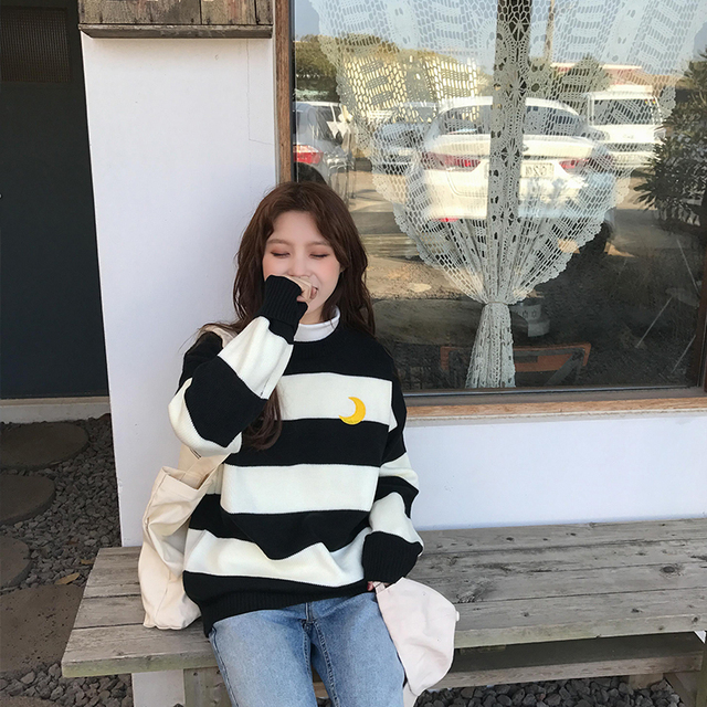 Women's Sweaters Kawaii Ulzzang College Candy Color Stripes Moon Sets Embroidery Sweater Female Harajuku Clothing For Women Lady 3