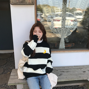 Image 3 - Womens Sweaters Kawaii Ulzzang College Candy Color Stripes Moon Sets Embroidery Sweater Female Harajuku Clothing For Women Lady