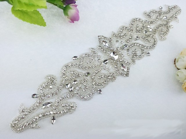 Rhinestones Lique For Wedding Dresses Beaded Trim Crystal Sew On Garment Embellishments Patches Sash Belt