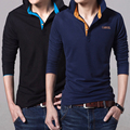 2017 Spring Brand Men Polo shirt Solid Color Long-Sleeve Slim Fit Shirt Men Cotton polo Shirts Casual Shirts black blue