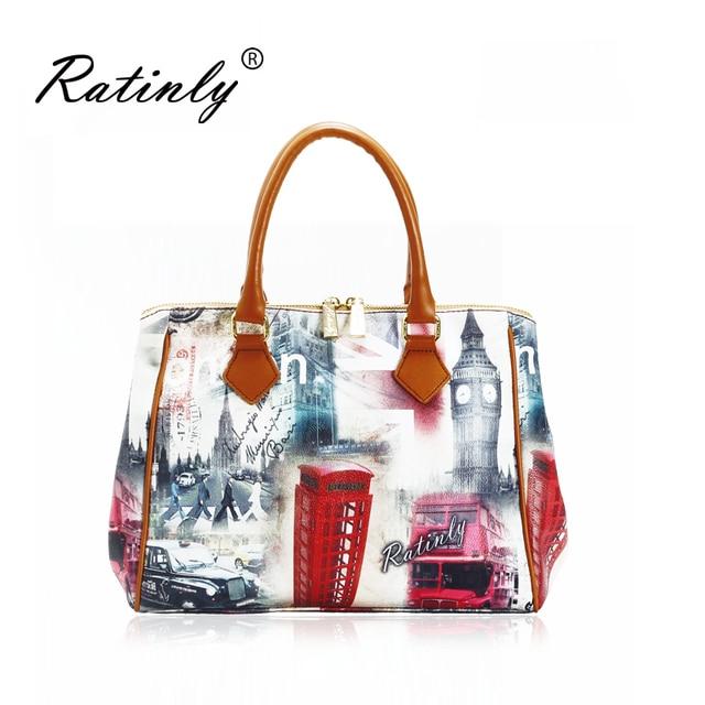 1d688daeb8 2015 Hot Sales Fresh England Style Leather Bus of UK Printing Saffiano Bag  Women Handbag Tote Bag