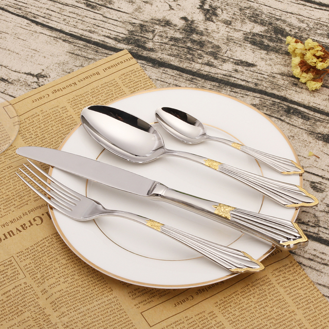 24 Pieces 18/10 Stainless Steel Cutlery Set Gold Tableware Set ...