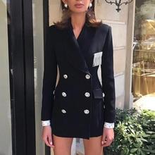 最新 2020 スタイリッシュなデザイナーブレザー女性のショール Collar Strass ボタンダブルブレストロングブレザージャケット