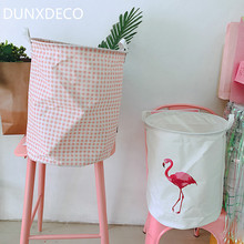 DUNXDECO Home Office Storage Basket Toys Cloth Organiser Holder Romantic  Girl Dream Pink Check Flamingo Print