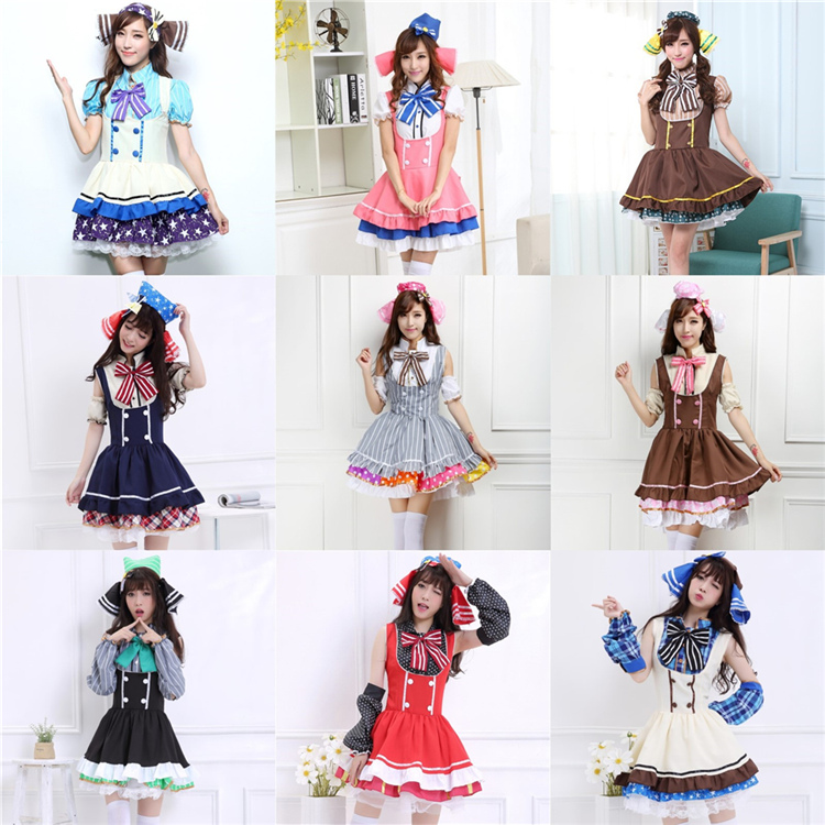 2017 hot candy clothing love live cosplay costume Rin Hoshizora Yazawa Nico cos clothing colorful dress