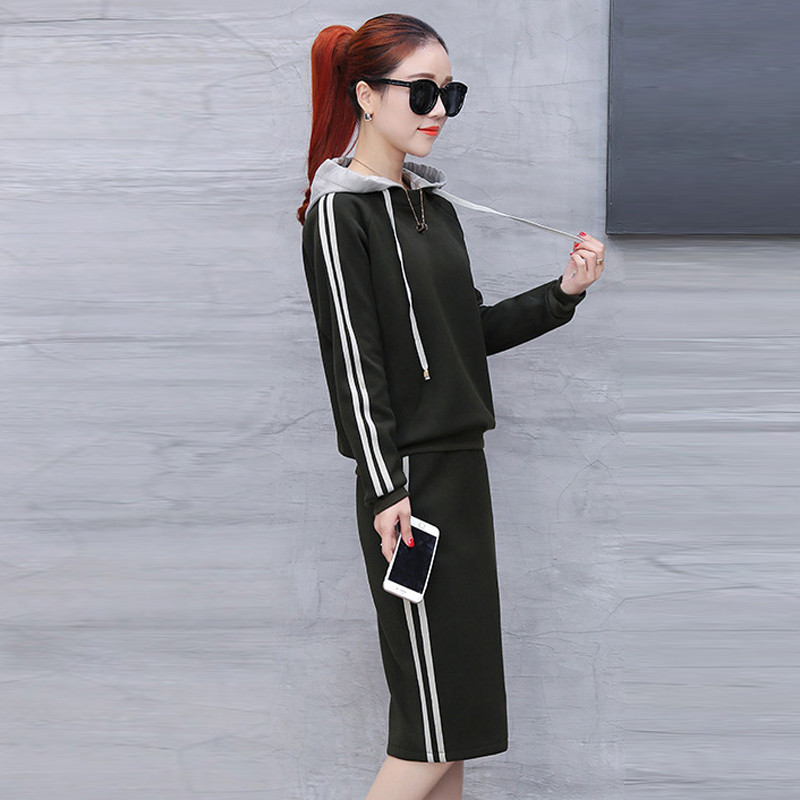 2018 Autumn 2 Piece Set Women Tracksuit Sportswear Casual Sweat Skirt Suits Hooded Sweatshirt Hoodie Fitness Clothing okd084