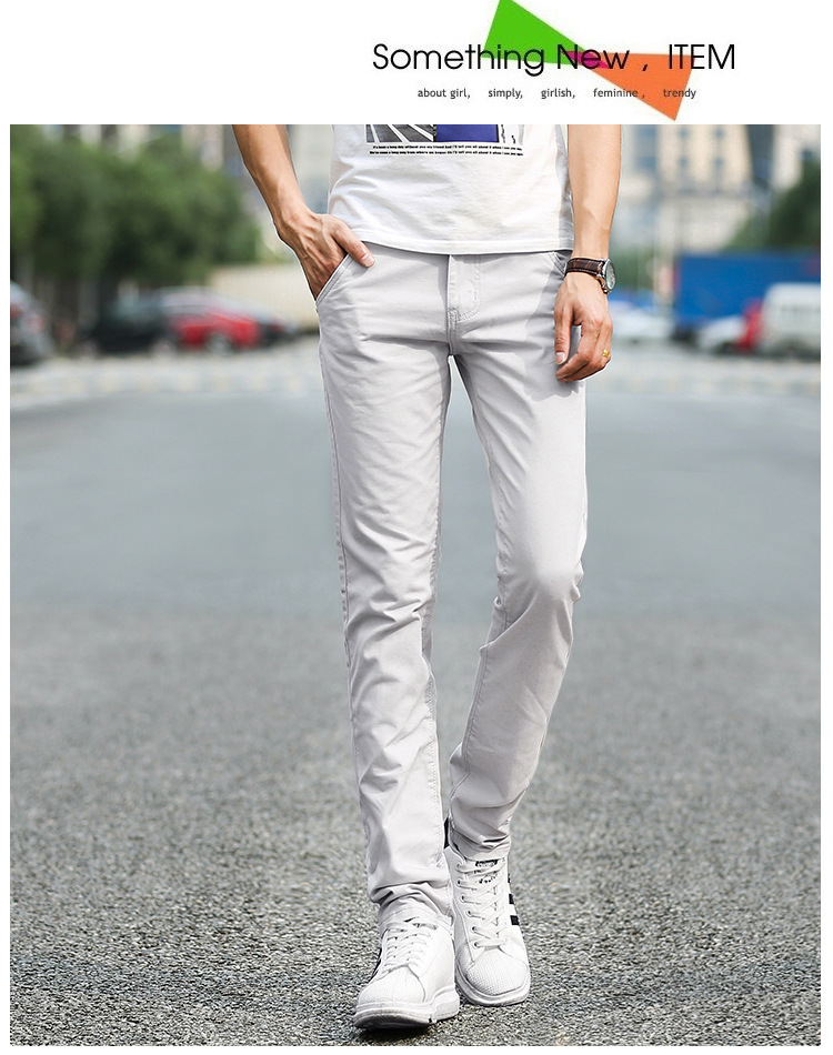Business Casual Pants 11 Colors New Casual Pencil Pants Men Slim Pant Straight Trousers Solid Leisure Zipper Spring Summer k919 33