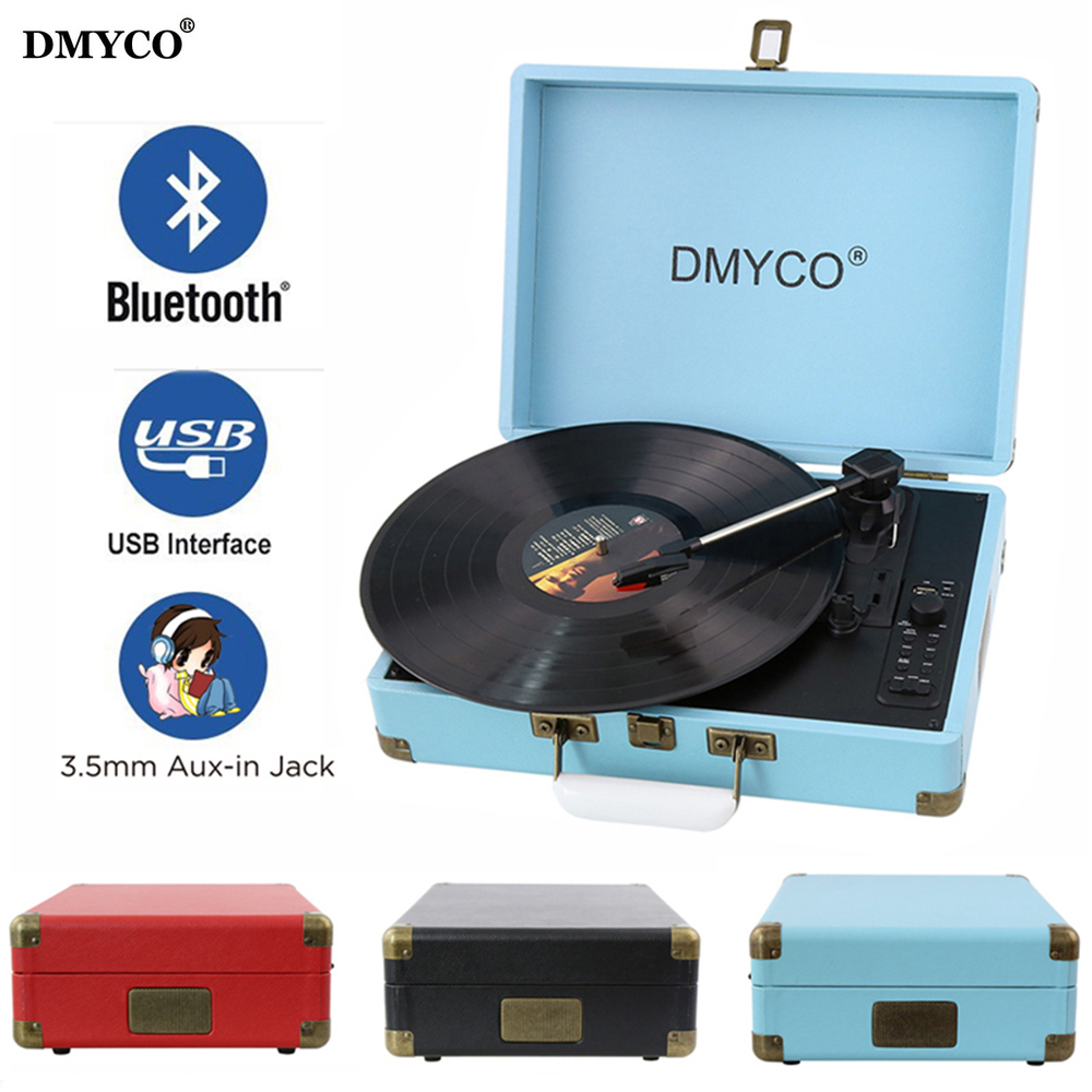 DMYCO Bluetooth 3-Speed Portable Stereo USB Vinyl Record Music Audio Bluetooth Player Support USB/Aux-in for CD Player On Sale portable bluetooth 5 0 player