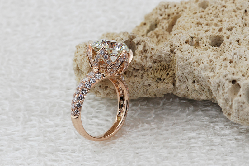 luxury 4 carat 10mm sona lab gem ringsrose gold color engagement wedding rings micro pave ring 925 sterling silver ring in rings from jewelry - Luxury Wedding Rings