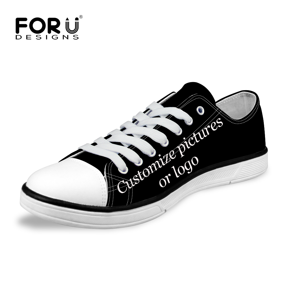 FORUDESIGNS Custom Images or Logo Women Fashion Casual Canvas Shoes Low Top Lace up Vulcanized Shoes