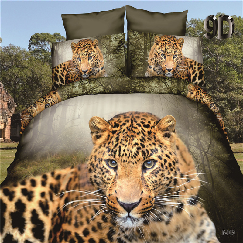 3D Wild Leopard Bed Linens Set Lovely Animal Bed Cover Sets Flat Sheet Pillowcase Duvet Cover