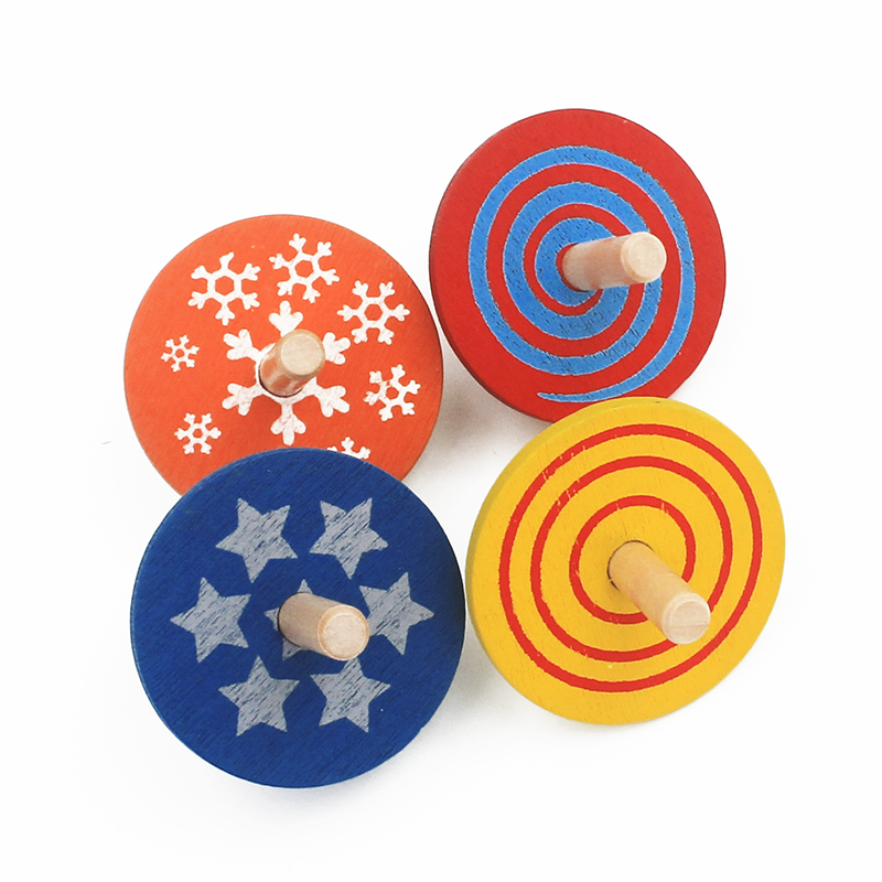 2016 New Arrival 4Pcs/Lot Wooden Toy Colorful Spinning Top Montessori Magic Classic Toys Spinning Top Educational Birthday Gift