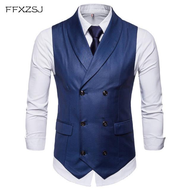 FFXZSJNew Style Double-Breasted Vintage Suit Vests for Men Slim Men Gilet Wedding Waistcoats Colete Homem Sleeveless Dress Vests