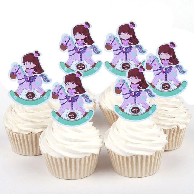 50pcs Cute Purple Horse Girls Cute Panda Tigers Paper Cupcake Topper