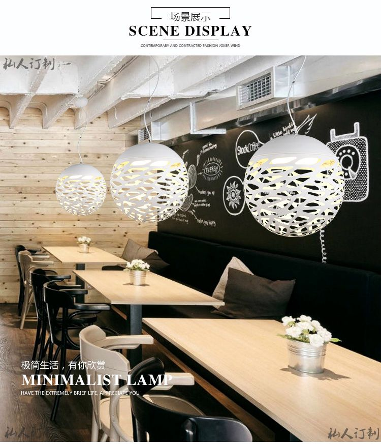creative lighting display. Single Head LED Pendant Light Modern Round Ball Shape White Dining Room Creative Lighting Iron Laser Cut Drill Hole Painted-in Lights From Display L