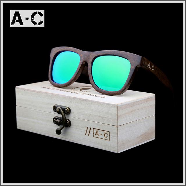 Nova moda 2016 100% artesanal de madeira de bambu de madeira óculos de sol masculino e feminino design bonito steampunk gafas de sol óculos de sol frescos