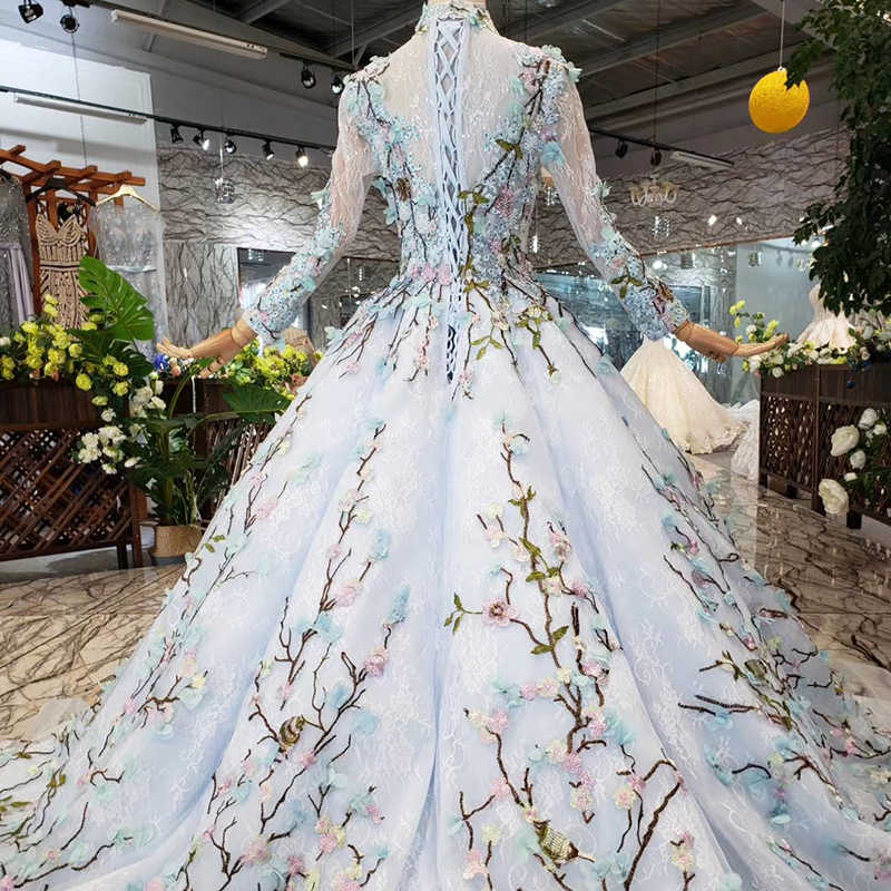 HTL300B כחול ארוך פורמליות שמלות עם צעיף גבוהה צוואר ארוך שרוול תחרה עד בחזרה מוסלמי נשים ערב שמלות העבאיה gece elbisesi