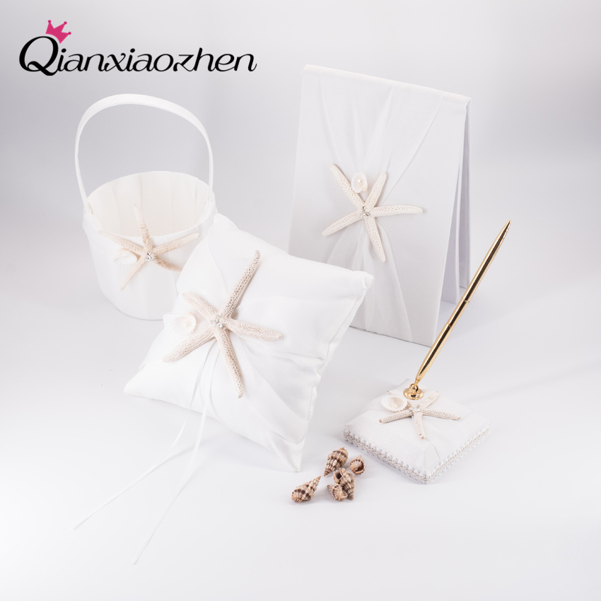 Qianxiaozhen 4pc Beach Theme Starfish Ivory Wedding Collection Set Wedding Supplies Wedding Accessories Decoration Cesta Boda
