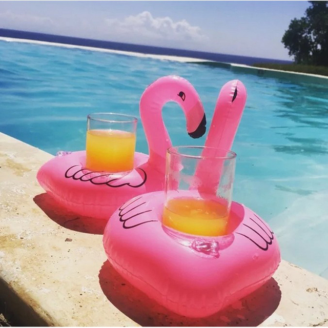 Mini Cute Pink Flamingo Drink Holder PVC Inflatable Floating Swimming Pool  Beach Party Kids Swim Beverage
