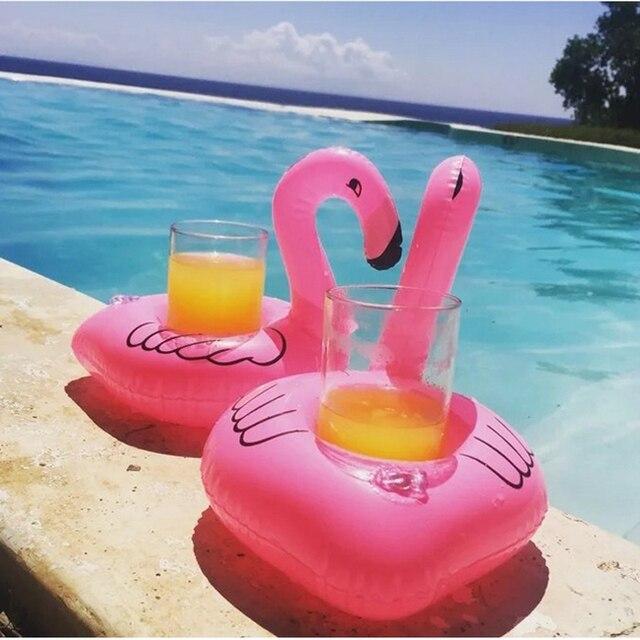 Mini Nette Rosa Flamingo Getränkehalter PVC Aufblasbare Schwimmbad Beach Party Kinder Schwimmen Getränke Halter