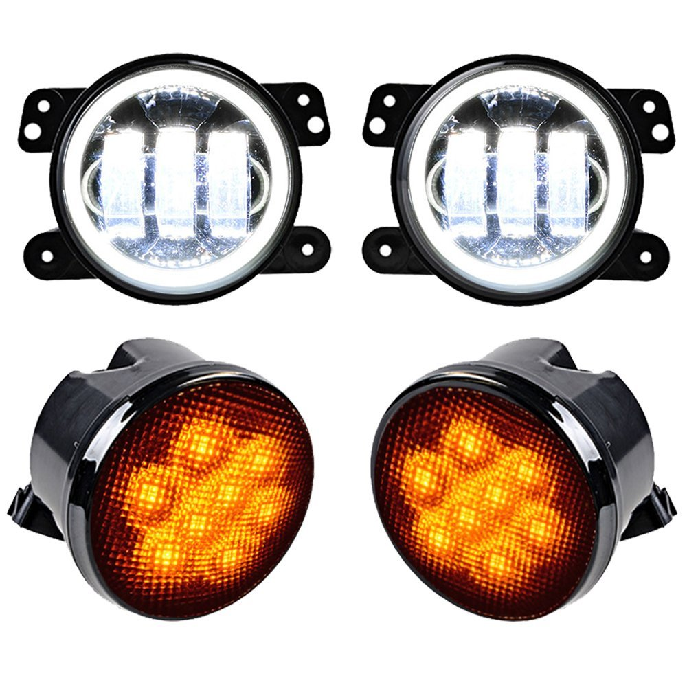 For Jeep Wrangler Combo Led Lights 2X 4 Round LED Fog Light White Halo Angle Eyes DRL + 2X Amber Turn Signal Indicator Lamp 1pair led side maker lights for jeeep wrangler amber front fender flares parking turn lamp bulb indicator lens