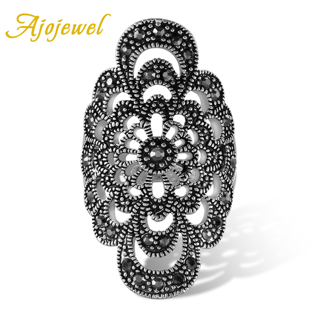 Ajojewel #7-9 Antique Jewelry Hollow Flower Female Ring Black Rhinestone New Fas