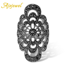 Ajojewel #7-9 joyería antigua flor hueca anillo femenino Diamante de imitación negro nuevos accesorios de moda
