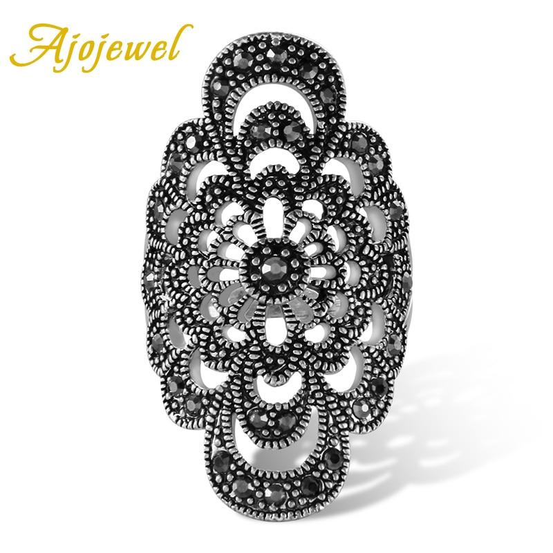 Женское кольцо в античном стиле, с полыми цветами