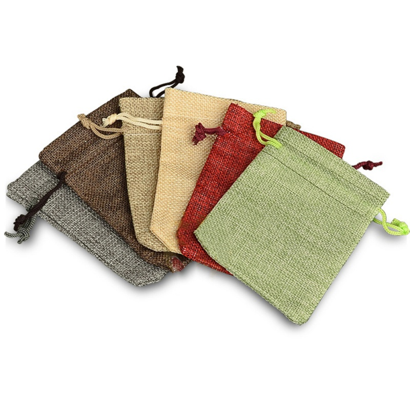 10pcs Linen Drawstring Bags Jute Sacks Wedding Birthday Party Favors Drawstring Gift Bags Baby Shower Supplies