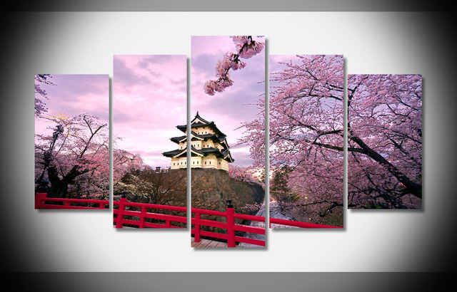 8171 Japan Cherry Blossoms Temples Japanese Bridge Spring Nature Landscape Poster Framed Gallery Wrap Art Print