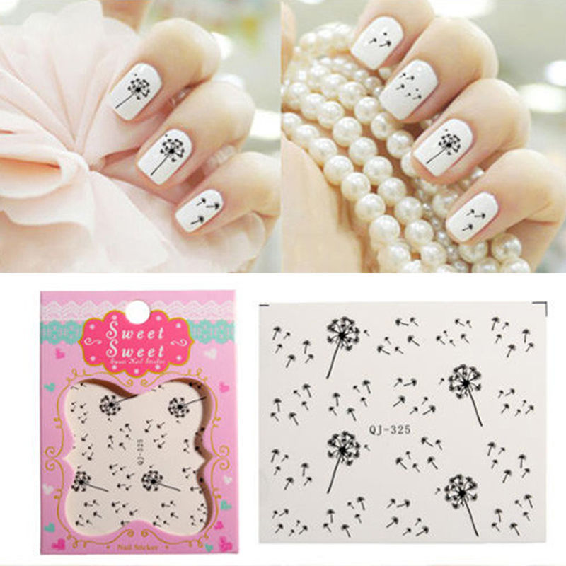 2 Sheets Beauty Dandelion Nails Art Stickers DIY Nail Decals Tags ...