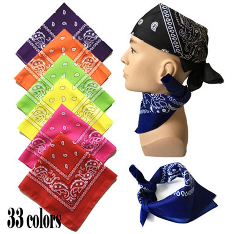 6pcs/ Hip Hop Skull Black Paisley Bandana Headwear/Hair Band Scarf Neck Wrist Wrap Band Headtie For Women Mens/Color Randomly