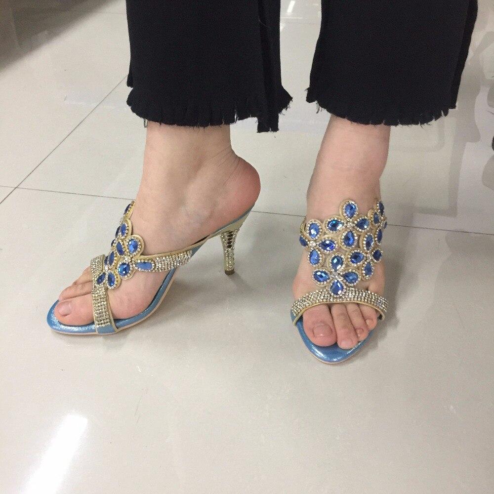 Strasszos magas sarkú szandál női nyári arany magas sarkú cipő nyitott lábujjak magas sarkú papucs kristály cipő
