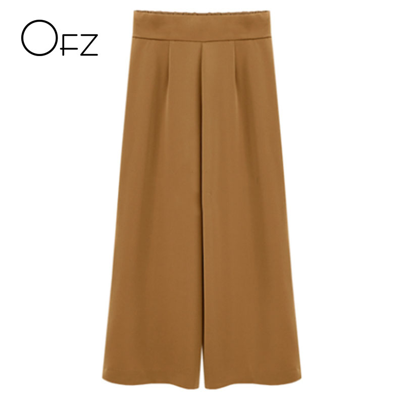 2017 Autumn Brand Design Elastic Waist Brief Women Trousers Loose Casual Ladies Wide Leg   Pants   Elegant High Waist Street   Capris