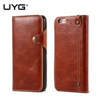 UYG Luxury Genuine Leather Retro Style Fastener Wallet Phone Cases Cover With Hang Rope Card Slot