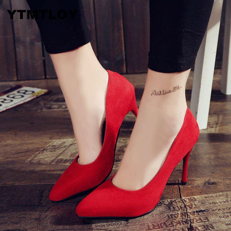 Women Pumps Fashion Shoes All Match Thin High Heel Pointed Toe Flock Wedding Green Sexy Heels Green Black Luxury  Dress Ladies
