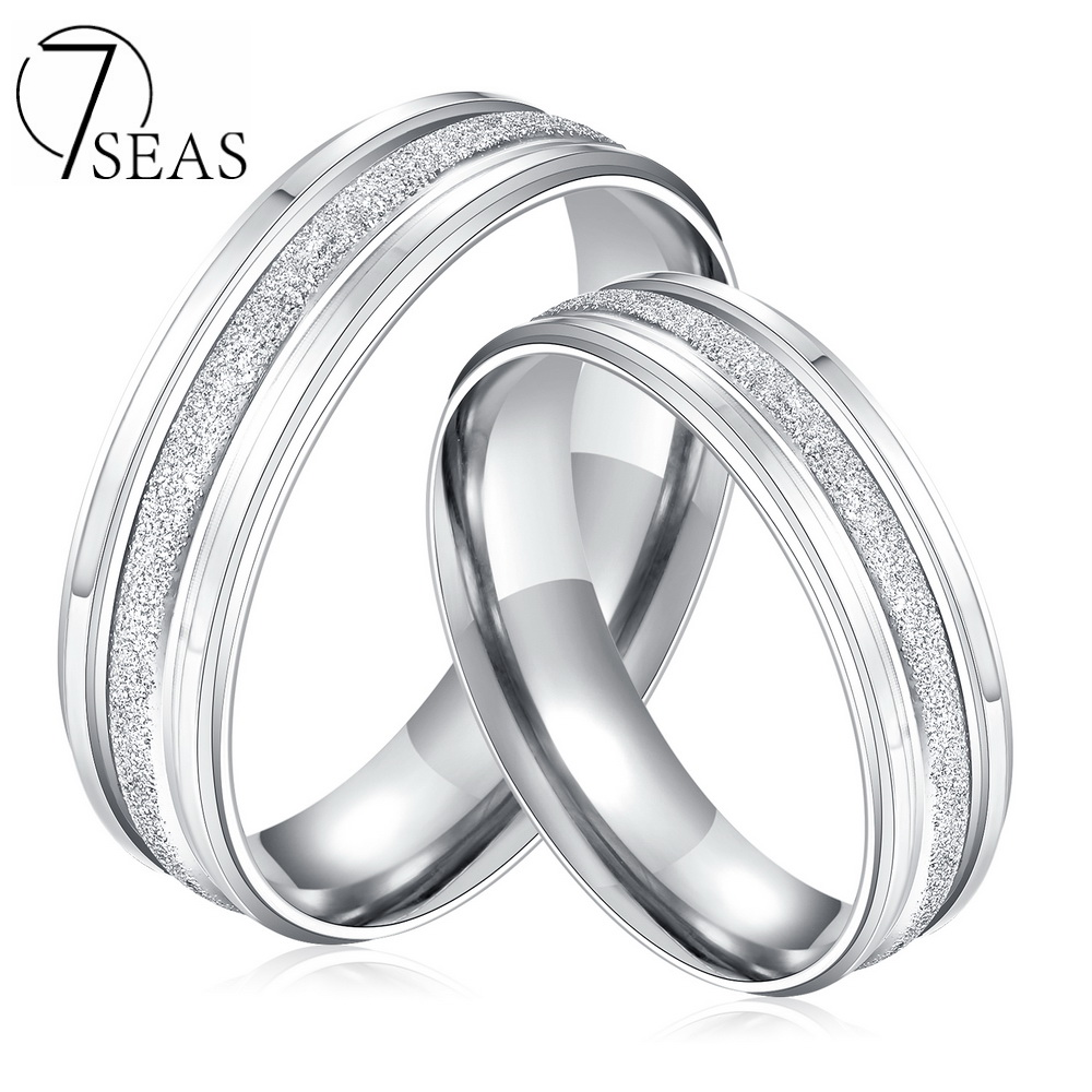 7SEAS Stainless Steel Couple Rings Silver Color Dull Polish Wedding Engagement Band His And Hers ...
