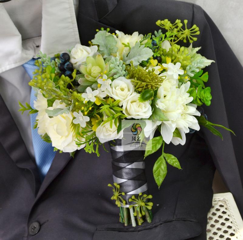 Bouquets de mariage faits à la main Bouquet de secours de mariée Rose Dahlia fleur blanc vert fleurs artificielles décoration fournitures de mariage