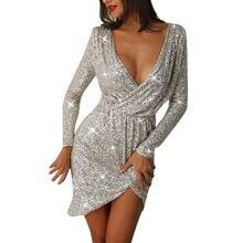 73e1f5431 Feitong Sexy Com Decote Em V de Alta Fenda Mulheres Vestido de Festa  Glitter Lantejoulas Bodycon