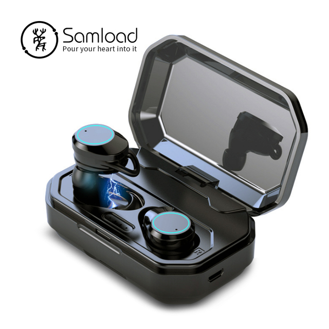 Samload Wireless Headphones 5.0 Bluetooth 3D Deep bass IPX7 Outdoor Cordless Earphones with 3000 mAh Power bank For IOS Android