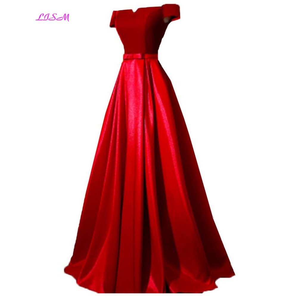 2018 red prom dress satin long gowns prom off-Shoulder Lace up ...