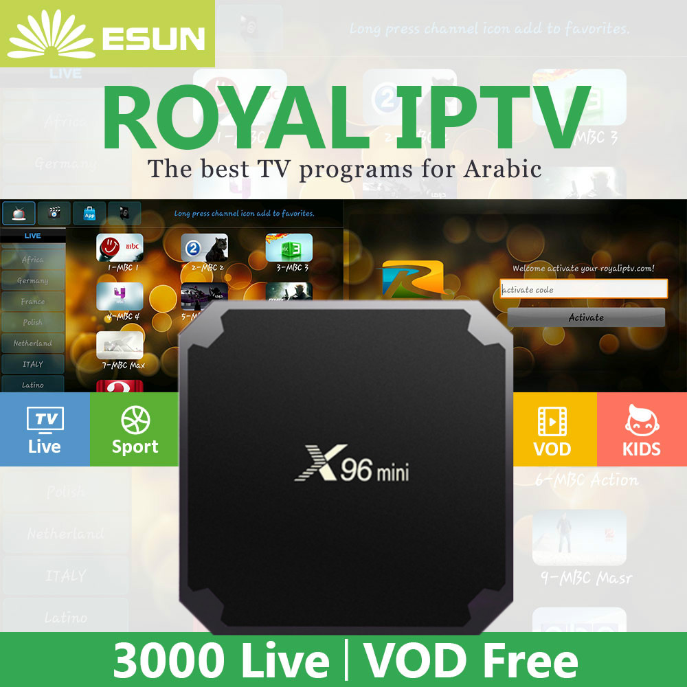 1 Year Royal IPTV in X96 Mini Android TV Box Arabic IPTV French Germany Africa Russian IPTV Africa IPTV India IPTV Set top box geldof in africa